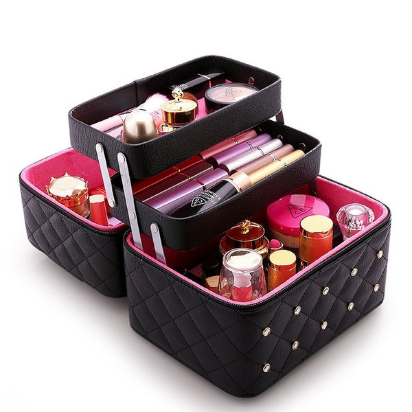 Diamond Women Makeup Bag Large Capacity PU Leather Cosmetic Bags Grid Pattern Portable Travel Beautician Toiletry Storage Box #138472