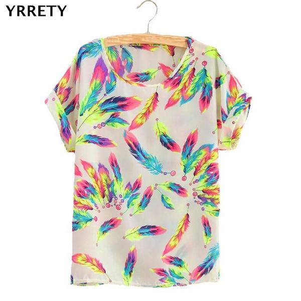 YRRETY Mujer Blusas Pluma Girasol Pájaro Gasa Estampado de blusa Rayas Camisa a cuadros Blusa cruzada Manga corta lápiz labial Camisas