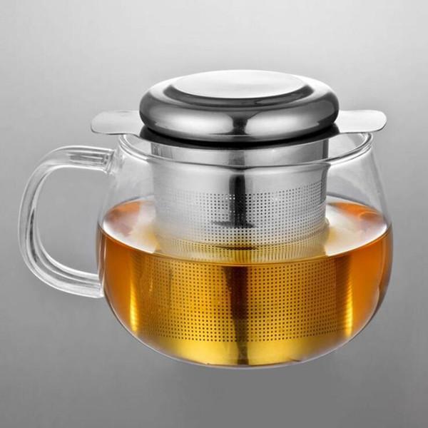 Fina malla del tamiz del té de té y café Tapa filtros reutilizables té del acero inoxidable Infusers Cesta con 2 manijas 9 * 7.5cm LXL471-A