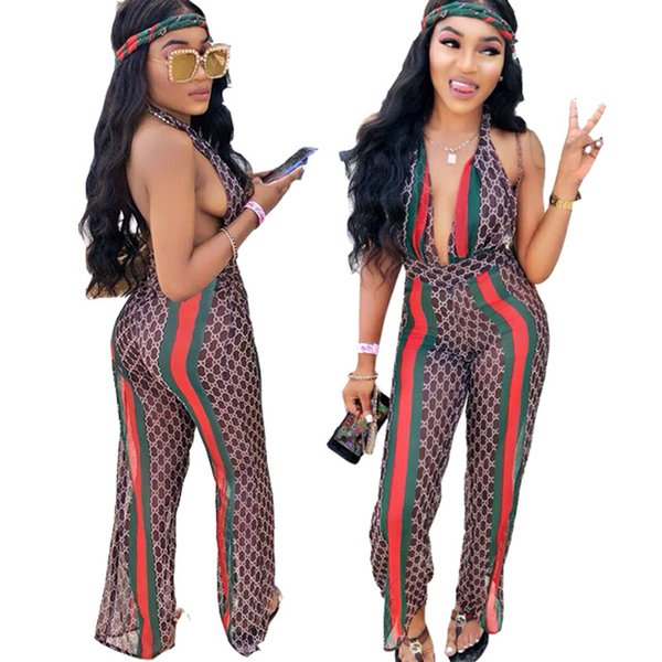 Women Summer Digital Printed Jumpsuits Sexy Deep V-Neck Backless Nightclub Wearing Fashion Female Panelled Full Length Apparel