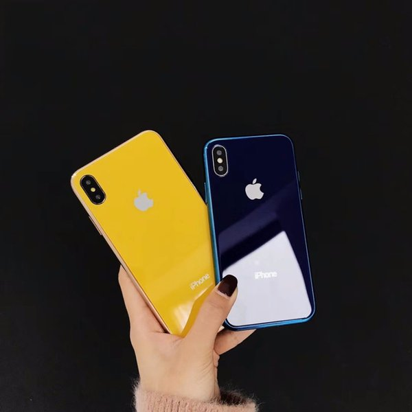 Cases Luxury made of electroplated glass Anti-fall Phone For iphone 6 6S 7 8 Plus X Xs Max case Simple designer caso del