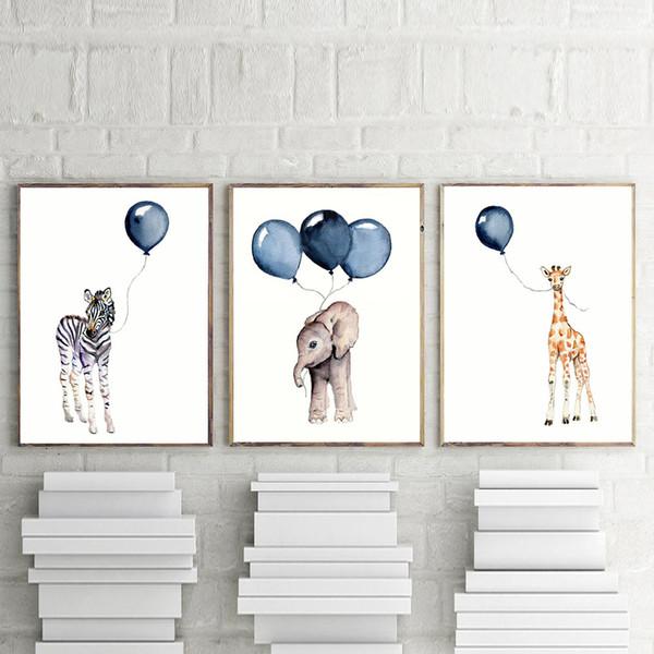 Berçário Parede Arte Menino Decoração Presentes Bebê Animal Elefante Zebra Girafa com Azul Marinho Balão Posters Aquarela Crianças Impressões