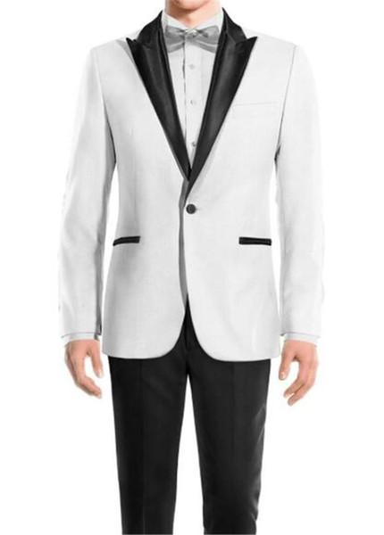 2 Adet (Ceket + Pantolon) Erkekler Wedding Groomsmen Şık Beyaz Yaka Damat smokin Erkek Smokin Düğün Prom Suits Özel dikim bir takım