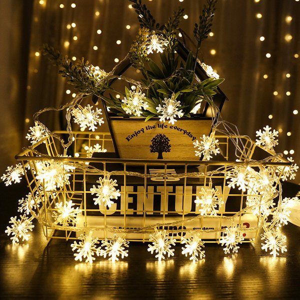 3m 20-Led Light Snowflake String Battery Box New Year Christmas Decorations for Home Christmas Tree Decor Adornos De Navidad. Q