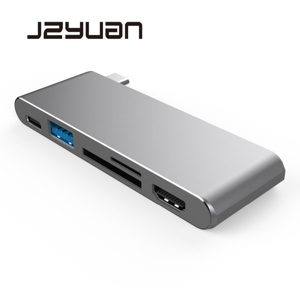 JZYuan USB Type C 3.1 Hub to HDMI 4K Adapter Thunderbolt3 Dock Dongle Combo SD TF Card Slot With Type C Charing For Pro