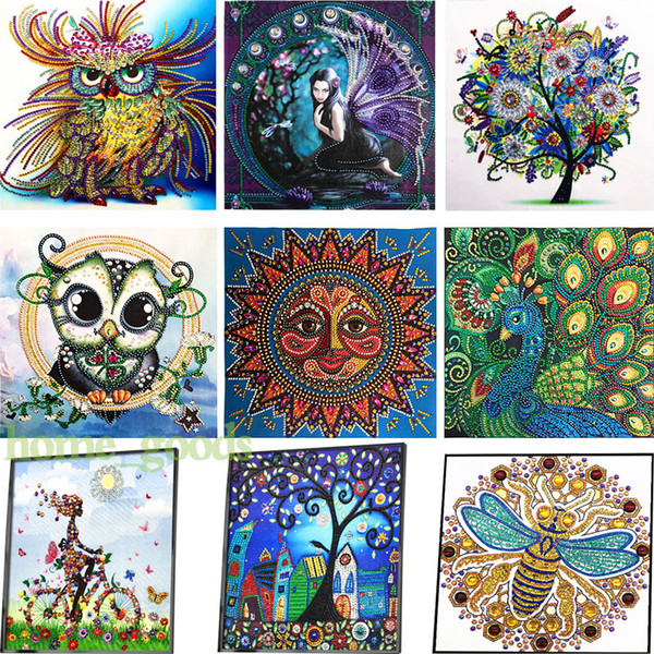 top popular 5D DIY Special Shaped Diamond Painting kits Cross stitch part Diamond Embroidery owl tree Rhinestones wall art canvas pictures Home Decor 2021