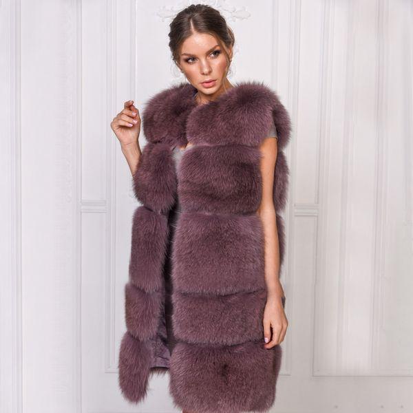 TOPFUR 2019 Fashion Winter Real Fur Coat Women Real Fox Fur Vest Women O-Neck senza maniche Manteau Femme Giacca di pelle Plus Size