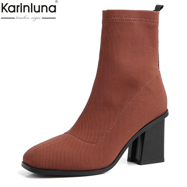 Grandes tailles 31-43 design de marque pour femmes 2019 Chunky talons hauts Chaussures Concise Bottes Femme Bottes Femmes Chaussures automne chaussettes Bottes