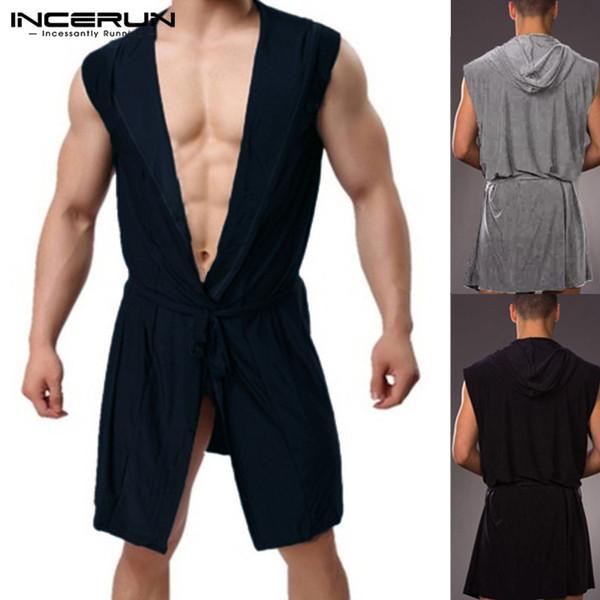 INCERUN Plus Size Men Robes Pajamas Hooded Sleepwear Bathrobes Men Sleeveless Leisure Robe Sexy Nightwear Homewear Hombre 2019