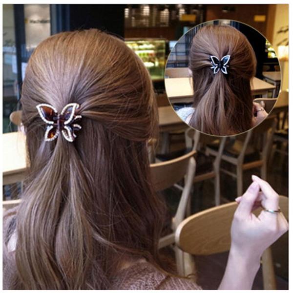 Commercio all'ingrosso piccolo mini formato nero capelli artiglio clip di cristallo strass farfalla capelli gioielli morsetti accessori per capelli per le donne