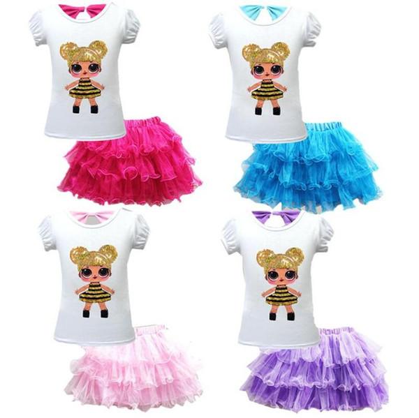 Yay T-shirt + TUTU Kısa Etek Seti LOL Sürpriz Kız Çocuk Etek Tee Suit Yaz Kızlar Payetli kısa kollu Üst Moda Bebek Giysileri