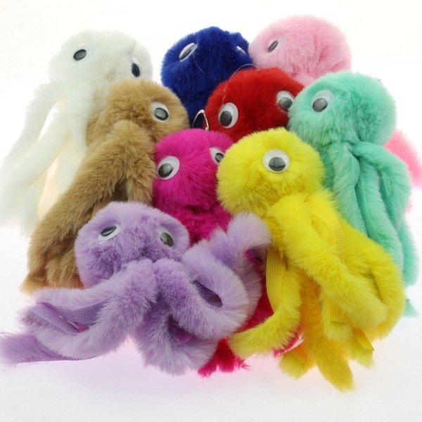 Cute Octopus Keychain Avengers Key Chains As Jewelry Fur Ball Key Chain Fluffy Keyring For Women Car Bag Key Ring