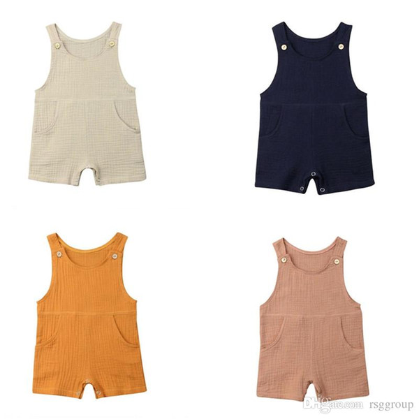 Summer New INS Toddler Baby Boys Girls Rompers Linen Cotton Sleeveless Shoulder Buttons Pockets Jumpsuits Newborn Blank Bodysuits for 0-2T