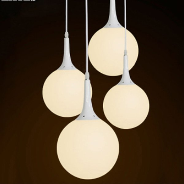 White Glass Ball LED Pendant Light Milky White Lights Modern Minimalist Living Room Dining Room Bedroom Lighting