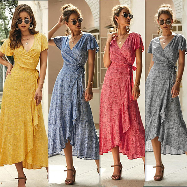 Hot Selling Women summer casual dresses midi dresses fashion sexy asymmetrical v-neck short Flutter Sleeve mid-calf Floral print Ruches 565