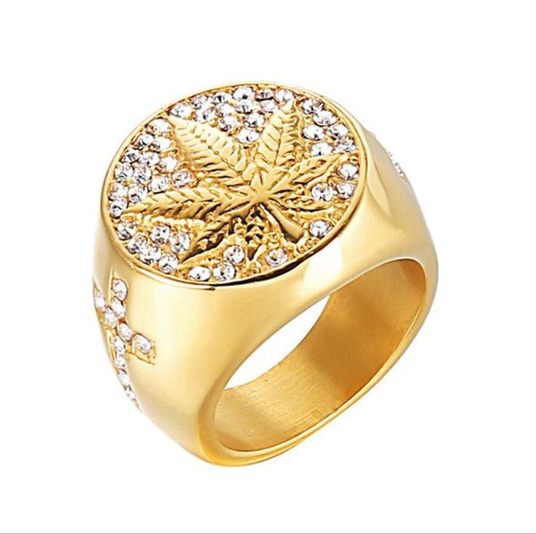 2019 Gold Hiphop Stainless Steel Finger Rings For Men Crystals Rhinestones Maple Leaves Jewelry Rings Accessories