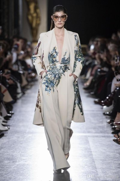 Elie Saab 2019 Evening Dresses Suits Two Pieces Sequined Prom Gowns Plus Size Long Formal Party Dress Arabic Abendkleider (Jumpsuits+Jacket