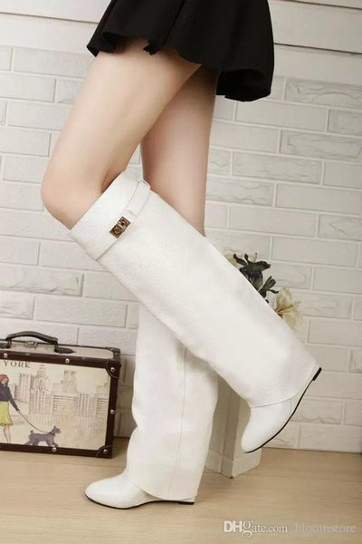 Designer Metal Shark lock Women Knee High Boots Polish Leather Long Booties 22 Colors Strap Wedges Shoes Ladies Knight Layer Boots