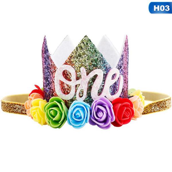 Newborn Baby Boy Girl Numeri Festa di compleanno Principessa Corona Fiore Tiara Festa Matrimonio Compleanno Nuova moda