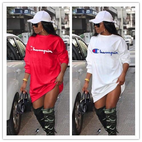 Женщины Champions Letter с длинным рукавом с капюшоном весна-лето с капюшоном с капюшоном платье Свободные футболки Платья Спортивная повседневная одежда S-XL 2019 A422