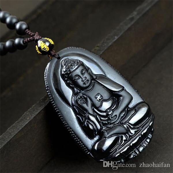 ZHF SCHMUCK Neue Natürliche Obsidian Halskette Mode Schwarz Amitabha Anhänger Für Frauen männer Vintage Edlen Jade Schmuck Ornamente