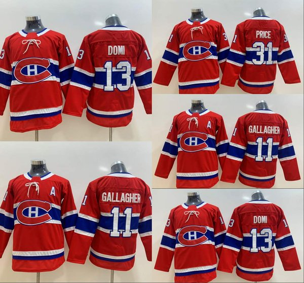 Jugend Montreal Canadiens 13 Max Domi 11 Brendan Gallagher 31 Carey Price Kinder-Hockey-Trikots Doppelte hohe Quanlity-Farbe Rot