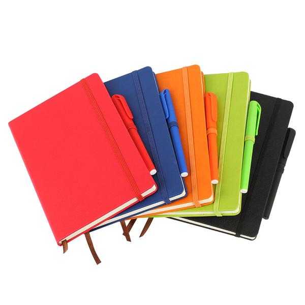Cuaderno de tapa dura A5 College Ruled Thick Classic Cuaderno de escritura de cuero de PU con cierre de bolsillo elástico con bandas 21 * 14.5 / 196 páginas