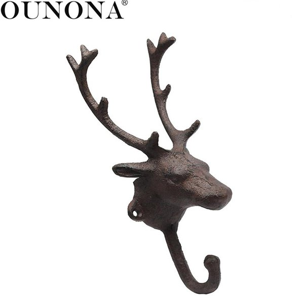 wholesale 1pcs Wall Hook Antique Deer Head Rustic Wrought Iron Realistic Heavy Duty Hooks for Home Decors Living