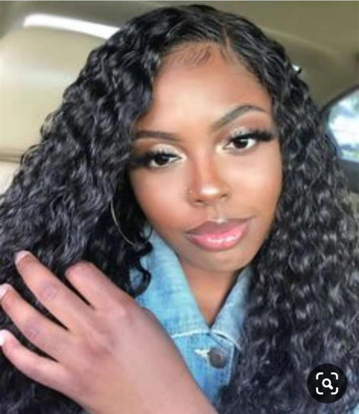 Stunning African American Water wave human hair wig curly 360 lace frontal wig natural hairline 150%density cheap for sale