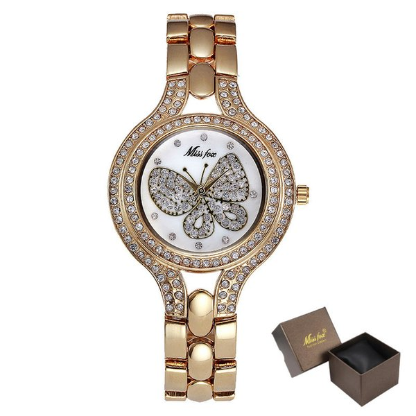 37mm Watch Fashion Gold Butterfly Diamond Teenage Girls Watches Women Stainless Steel Back Water resistant Golden Clock