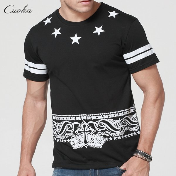 Das T-Shirt der Cuoka-Männer Hip Hop T-Shirt Kurzarm-Stern Pyrex-Skate übersteigt T-Stücke