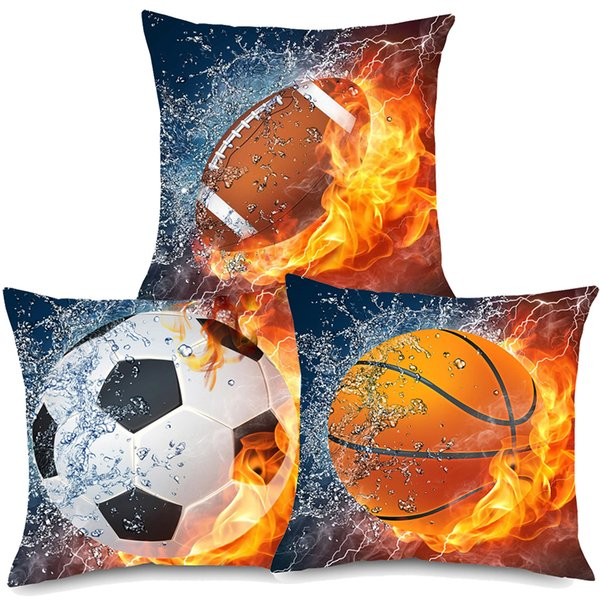 Prime American Football Basketball Cushion Covers 3 Styles Oil Painting Beige Linen Pillow Covers 45X45Cm Sofa Chair Decoration Spotlight Outdoor Cushions Pdpeps Interior Chair Design Pdpepsorg
