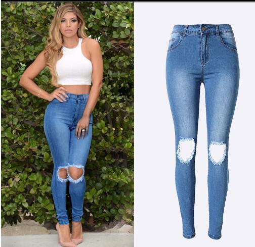 Лучшие продажи Измельченных личности популярного тонкого высокой талии стрейч Тонких джинсовые брюки