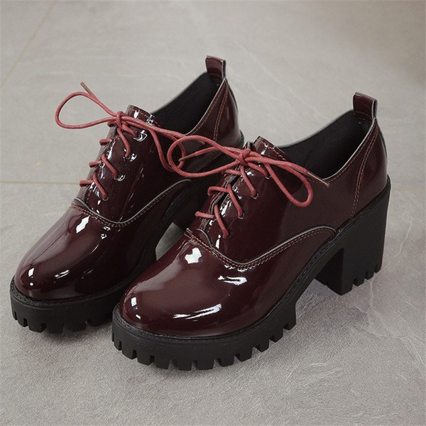 Hot Sale-Toe Lace Up Women Patent Leather low heel Oxford Shoes Woman Vintage Shoes For Ladies spring Autumn platform shoes Thick Heels