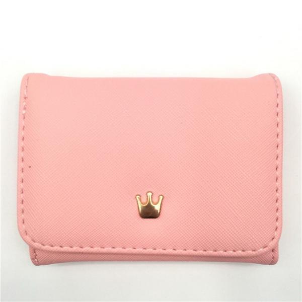 fashion Short Pure color Purse Woman Korean Crown Simple Square Zipper Small Purse Lady's Change Wallet
