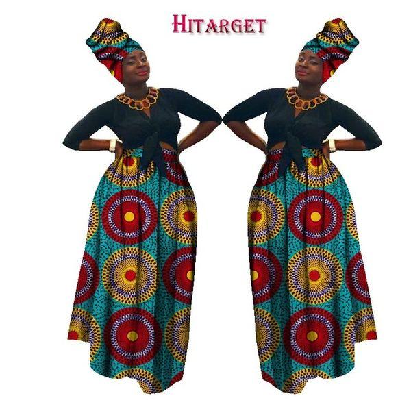 best selling 2019 Autumn Dashiki African High Waist Ball Grown Skirt Bazin Riche African Skirt+ headscarf africaine pour les femme WY1270