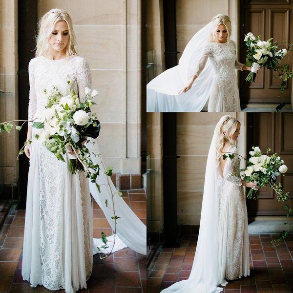 2019 robes de mariée bohème plage Vintage dentelle française à manches longues Boho une ligne pays ouvert robes de mariée robe de noiva BC0590
