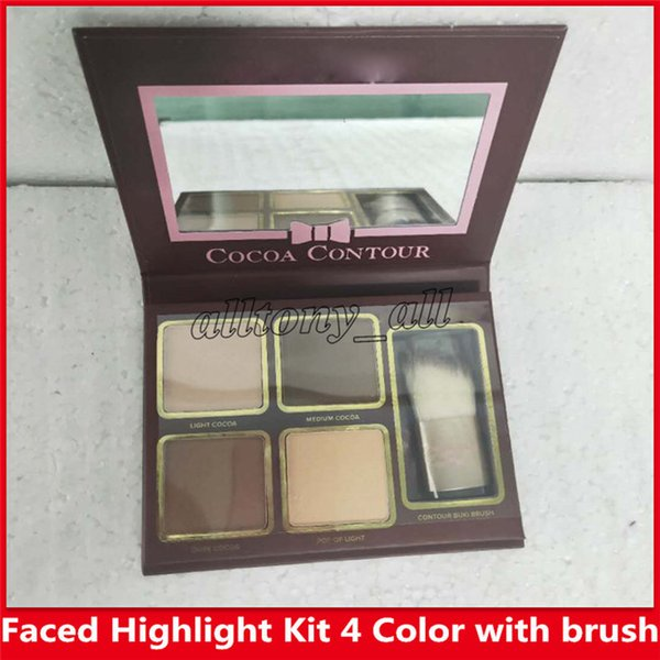 Hot Faced Cocoa Contour Chiseled To Perfection Textmarker Gesichtskonturierung und Highlighting Kit 4 Farbe mit Pinsel