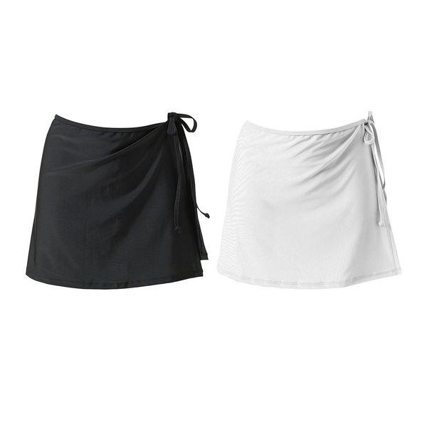 ¡Borrar stock! Color sólido de las mujeres Swim Beachwear Falda Wrap Sexy Bikini Cubierta Suave Negro / Blanco Correa cubierta