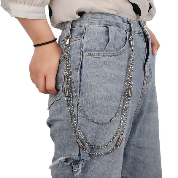 Pantalone Pantaloni Vita corta Cintura portachiavi 3 Stili Portafoglio in metallo Catena Argento Rock Punk Hook Biker Uomo Donna Gioielli di moda