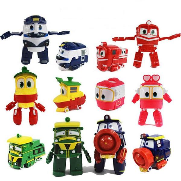 Robot Trains Transformation Kids Anime Kay Train Deformation Train Car Action Figure Kids Toys for Children 13cm with Original Box
