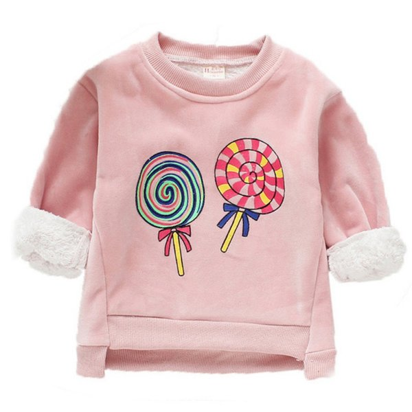 Baby Clothes Girl Cartoon Print Long Sleeve Baby Girl Sweater Top Winter Warm Plus Velvet Kids Clothes Pullover