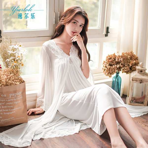 Yi Erle sweet palace wind nightdress spring new strap pajamas ladies lace home service two-piece
