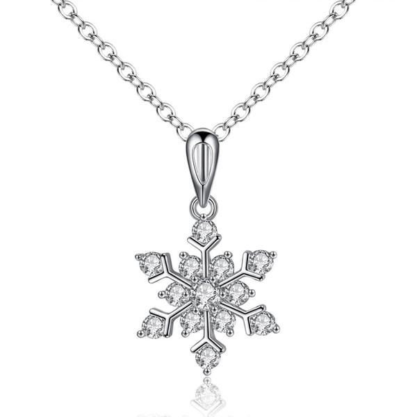flocons de neige en or blanc collier avec le cristal colliers luxe collier de charme mode cadeau de noël déclaration bijoux