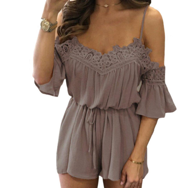 Summer Beach New Women's Lace Crochet Off Shoulder Holiday Mini Playsuit Solid Color Chiffon Jumpsuits Romper Female