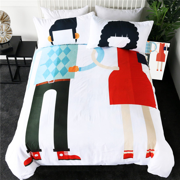 Couples Bedding Set Queen Wedding Lovers Duvet Cover Set Dress Up Funny Bed Linen Creative Ropa De Cama Bedding Clearance Mens Duvet Covers From
