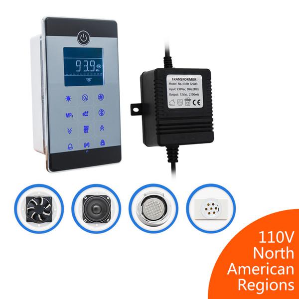 1set Controller/Transformer/Fan/Speaker/Light/Ozone Touch Screen LCD Display Bluetooth&MP3 USB Shower Cabin Control Kit Bath Accessories