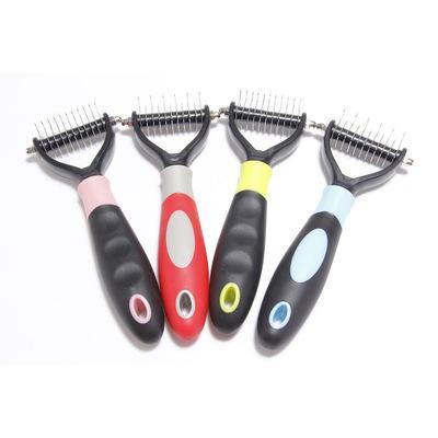 Pet Grooming Comb инструмент 2-сторонняя Грунтовка Грабли для кошек Собака Безопасного Dematting зоотовары расчески для удаления волос EEA1060