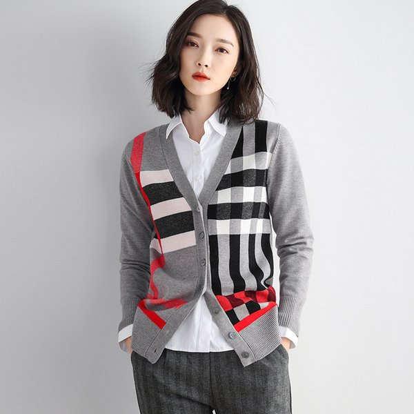 Frühling Herbst Frau Strickpullover Strickjacken 2019 Korean Style Geometric Print Langarm V-Ausschnitt Einreiher Pullover Tops