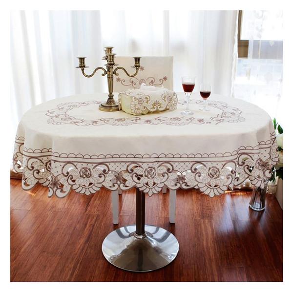 Avrupa bahçe masa örtüsü bej çiçek işlemeli düğün masa örtüsü dikdörtgen / yuvarlak / oval dekoratif masa örtüleri için mutfak